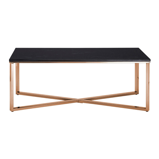Alluras Coffee Table With Champagne Cross Base