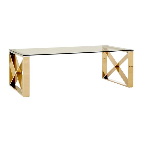 Alluras Coffee Table With Champagne Gold Legs