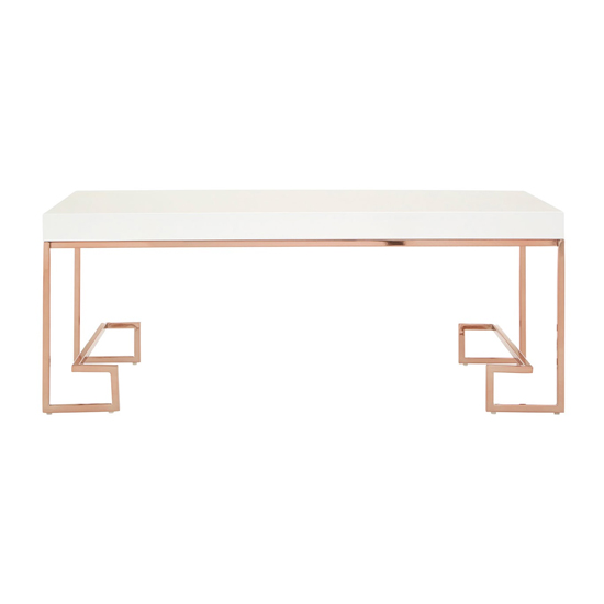 Alluras Coffee Table In Rose Gold With White Top