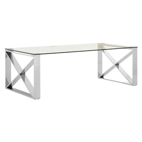 Alluras Coffee Table In Silver With Stainless Steel Legs