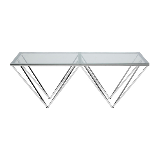 Alluras Coffee Table In Silver With Triangular Base