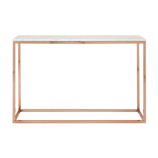 Alluras Console Table In Rose Gold With White Marble Top  _2