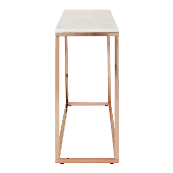 Alluras Console Table In Rose Gold With White Marble Top  _3