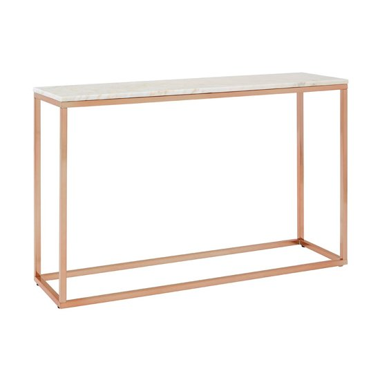 Alluras Console Table In Rose Gold With White Marble Top