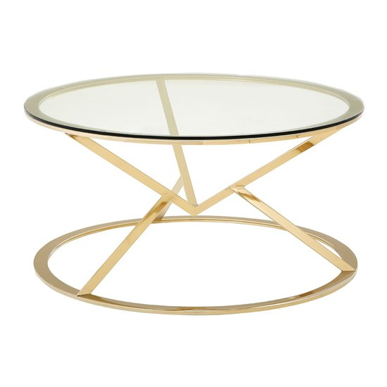 Allure Corseted Round Coffee Table In Champagne Gold