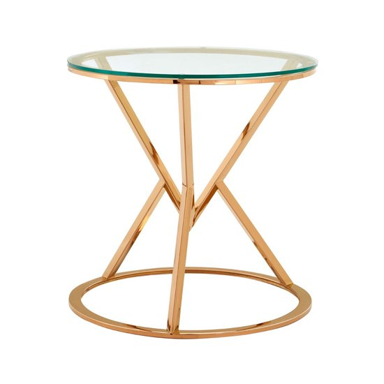 Allure Corseted Round End Table In Rose Gold