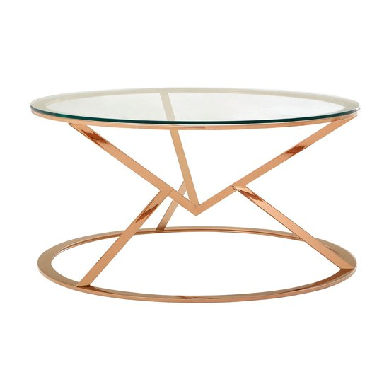 Alluras Corseted Round Glass Coffee Table In Rose Gold   _1