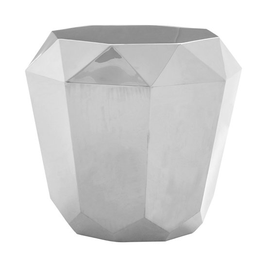 Alluras Diamond Cut Stainless Steel End Table