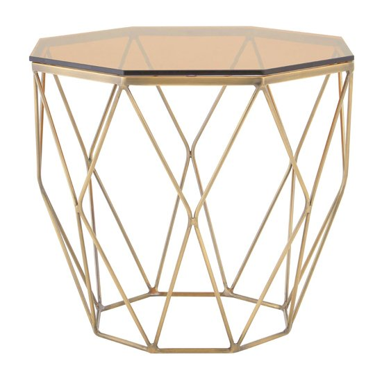 Alluras End Table With Brushed Bronze Base