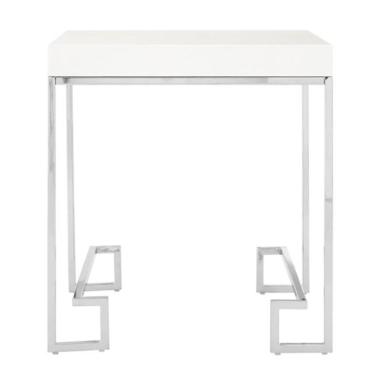 Alluras End Table In Chrome With High Gloss White Top
