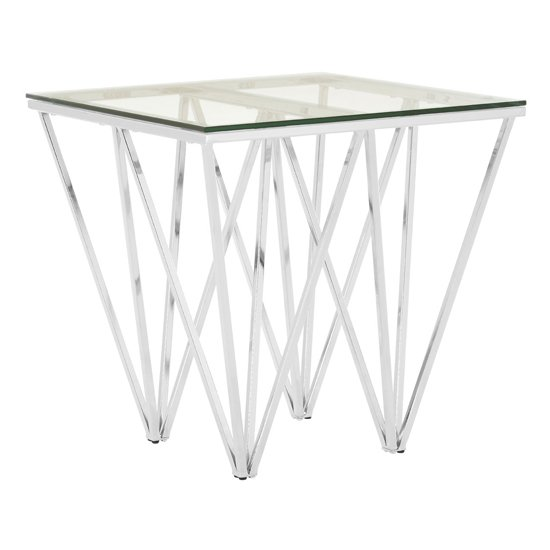 Alluras End Table In Chrome With Triangular Base    _2