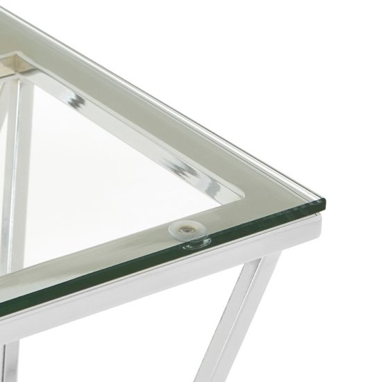 Alluras End Table In Chrome With Triangular Base    _3