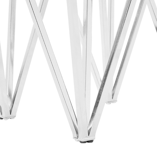 Alluras End Table In Chrome With Triangular Base    _4
