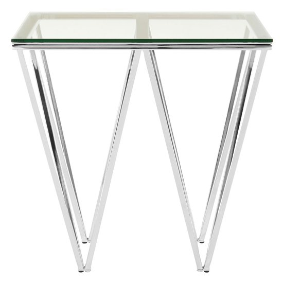 Alluras End Table In Chrome With Triangular Base    _1