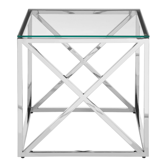 Alluras End Table With Cross Base And Glass Top