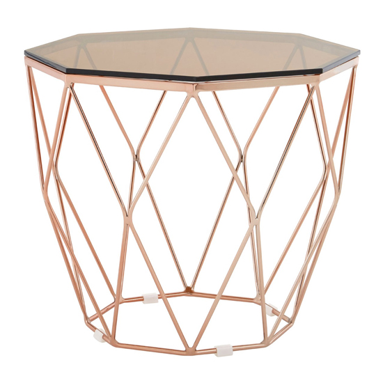 Alluras End Table With Rose Gold Base     _2