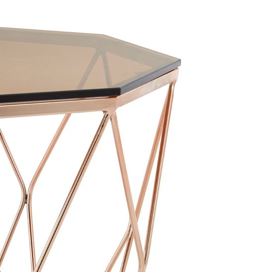 Alluras End Table With Rose Gold Base     _4