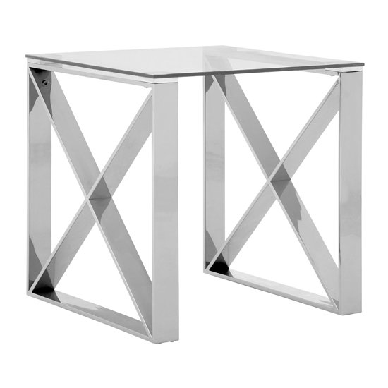 Allure End Table In Silver With Stainless Steel Base