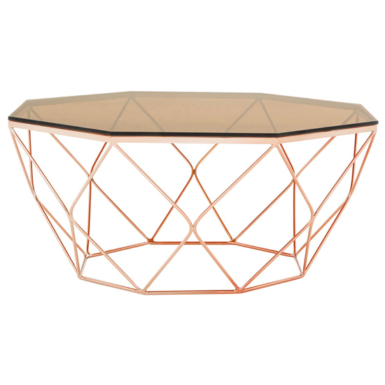 Allure Glass Coffee Table With Rose Gold Base