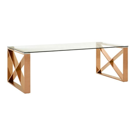 Alluras Glass Coffee Table In Rose Gold