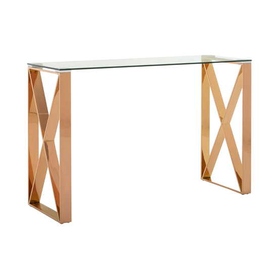 Alluras Glass Console Table In Rose Gold