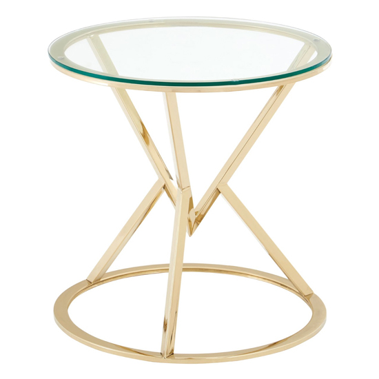 Alluras Glass Corseted Round End Table In Champagne    _2