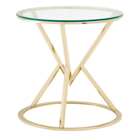 Alluras Glass Corseted Round End Table In Champagne    _1