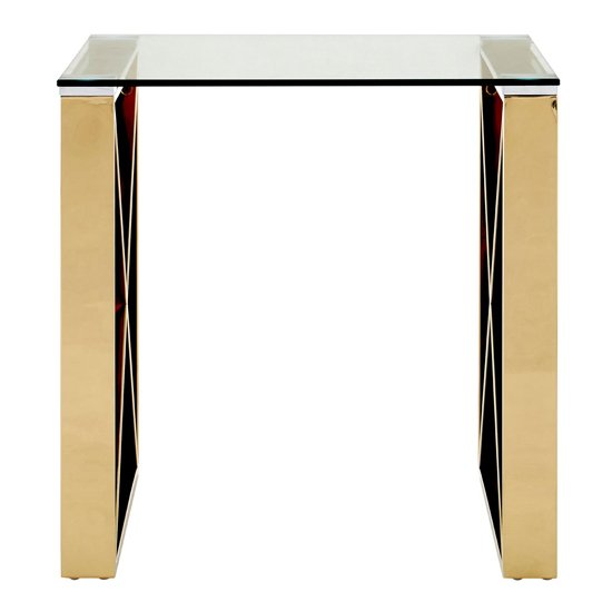 Alluras Glass End Table In Champagne Gold     _2