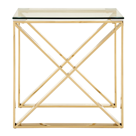 Alluras Glass End Table In Champagne Gold     _3