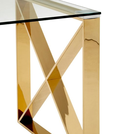 Alluras Glass End Table In Champagne Gold     _4