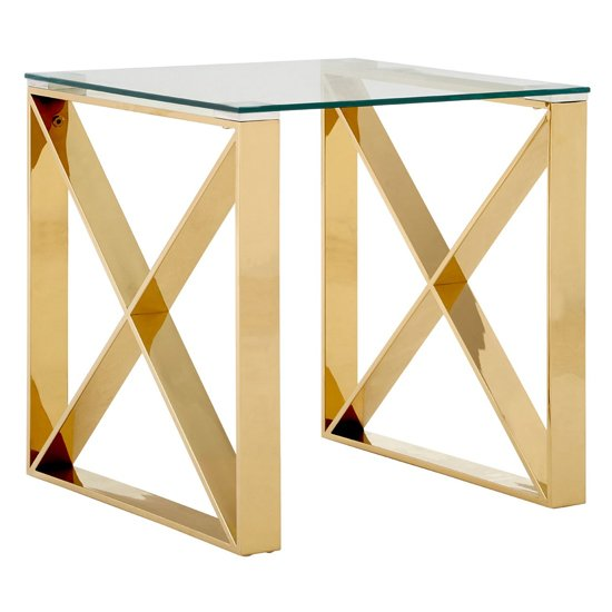 Alluras Glass End Table In Champagne Gold     _1