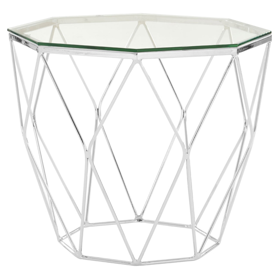 Allure Glass End Table In Chrome Base