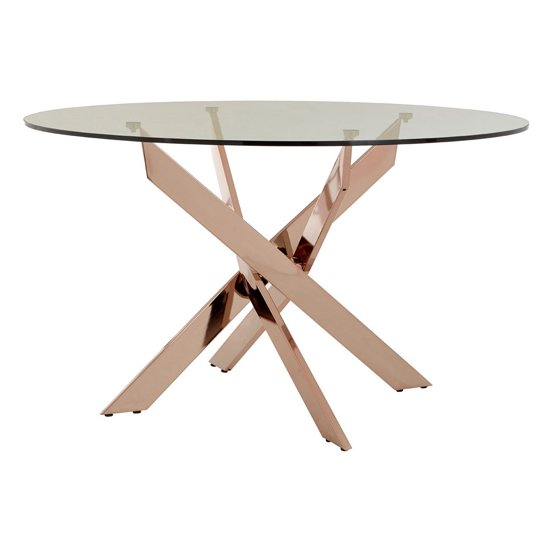 Alluras Intersected Dining Table In Rose Gold