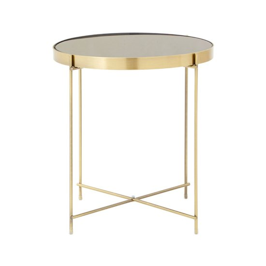 Alluras Low Side Table In Bronze With Black Mirror Top  _2