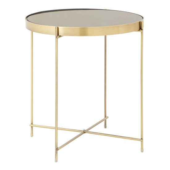 Alluras Low Side Table In Bronze With Black Mirror Top
