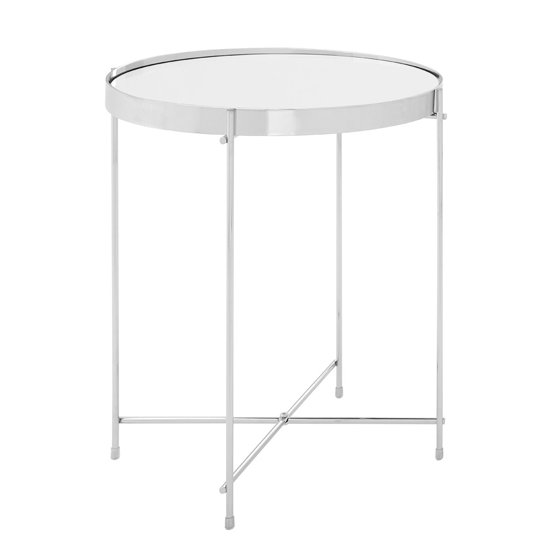 Alluras Low Side Table In Silver With Mirrored Top