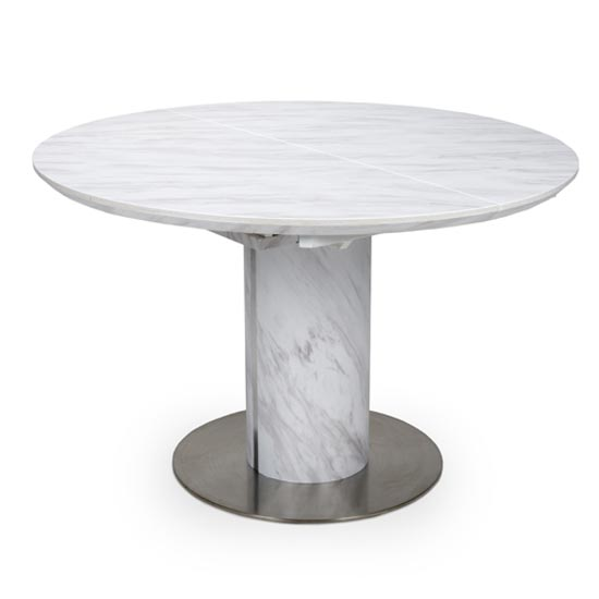 Allora Marble Round Extending Dining Table In White