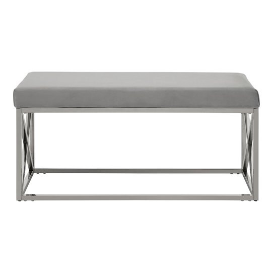 Alluras Powder Blue Finish Bench With Metal Base