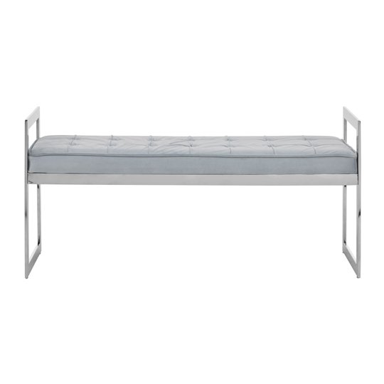 Alluras Powder Blue Velvet Button Tufted Bench With Silver Base _1