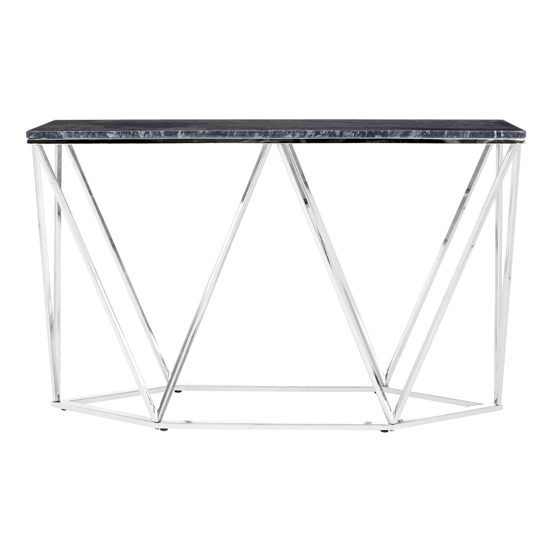 Alluras Rectangular Console Table With Black Marble Top    _1