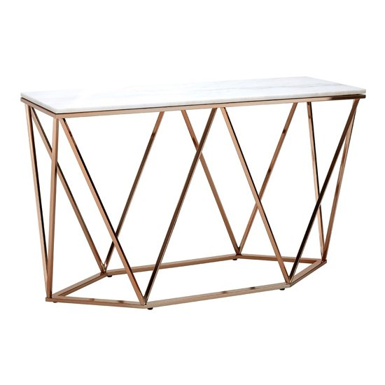 Alluras Rectangular Console Table In Champagne Gold