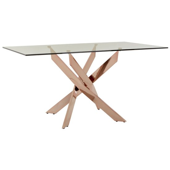 Alluras Rectangular Dining Table In Rose Gold