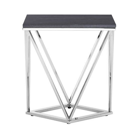 Allure Rectangular End Table With Black Marble Top