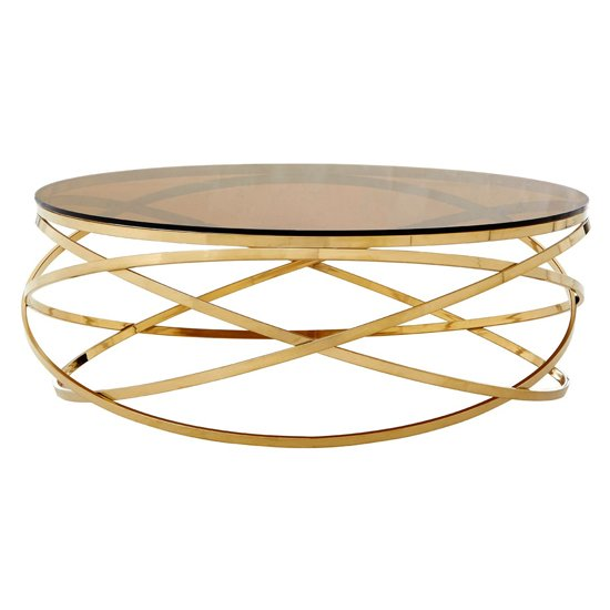 Alluras Round Glass Coffee Table In Champagne Base    _1