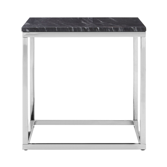 Alluras Square End Table With Black And White Marble Top