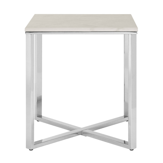 Alluras Square End Table With White Faux Marble Top