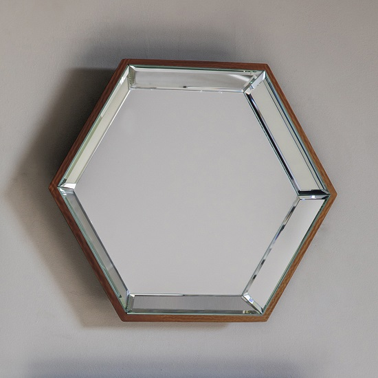Allure Wall Mirror Hexagonal In Copper With Wooden Frame