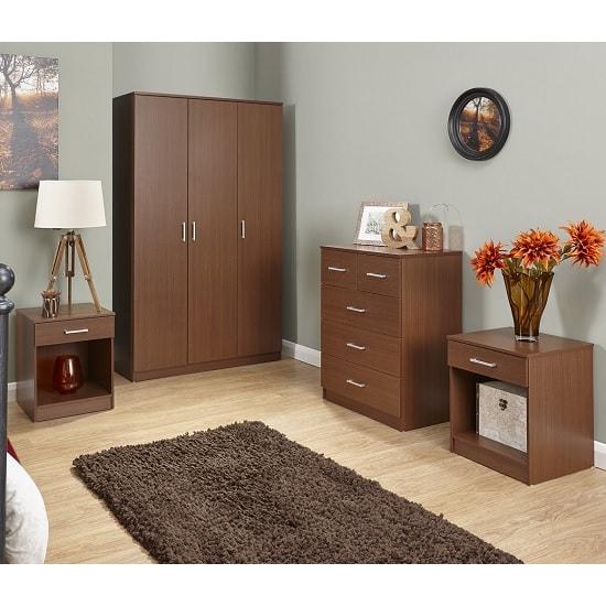 Almandite Wooden 4Pc Bedroom Furniture Set In Walnut