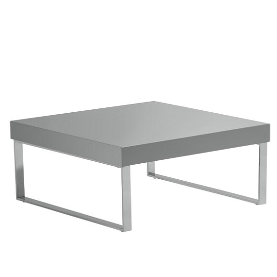 Almara Coffee Table In Grey High Gloss With Chrome Frame