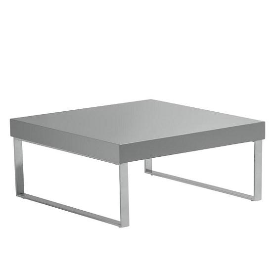 Grey High Gloss Coffee Table Uk: Almara Coffee Table In Grey High Gloss With Chrome Frame
